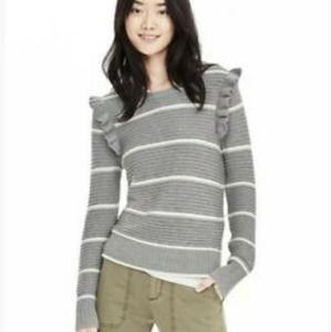 Gray and white Striped Ruffled Sweater